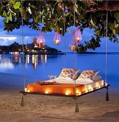 Floating bed set up for a special occasion