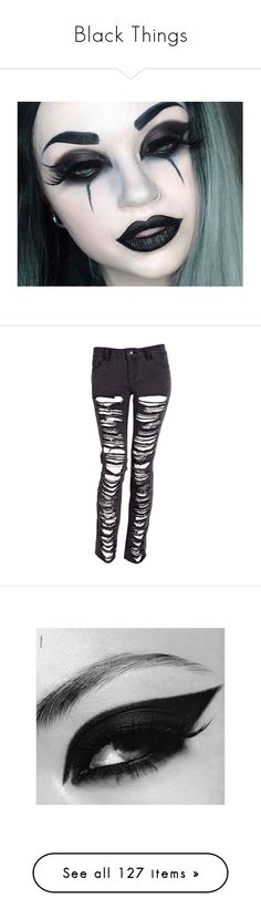 """Black Things"" by anime-loverx ❤ liked on Polyvore featuring beauty products, makeup, eye makeup, jeans, pants, bottoms, calças, womens jeans, skinny leg jeans and skinny fit jeans"