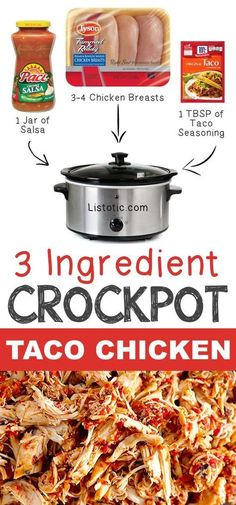 5 3 Ingredient Crockpot Taco Chicken 12 Mind-Blowing Ways To Cook Meat In Your Crockpot Listotic Crock Pot Food, Crock Pot Tacos, Crockpot Dishes, Taco Meat In Crockpot, Crockpot Shredded Chicken Tacos, Healthy Crockpot Chicken Recipes, 3 Ingredient Chicken Recipes, Healthy Chicken, Easy Meat Recipes
