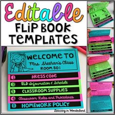 **Update 7/21/15**I have updated this product to include a Spanish version of this flip book.  It follows the same format as the English version.  All the text is editable to make it fit your needs. _______________________________________________________By request, I am sharing my double-sided  flip book templates.