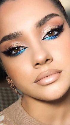 Makeup Eye Looks, Eyeshadow Looks, Eyeshadow Makeup, Eyeliner, Eyeshadows, Colorful Eye Makeup, Blue Makeup, Skin Makeup, Bridal Makeup For Green Eyes