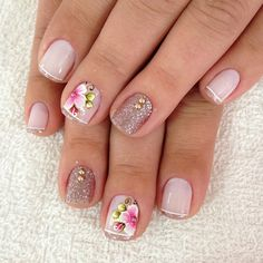 French pedicure designs flower beautiful 62 New Ideas Em Nails, Cute Nails, Pretty Nails, French Pedicure Designs, Nail Designs Spring, Nail Polish Designs, Cool Nail Designs, Glitter Make Up, Summer Toe Nails