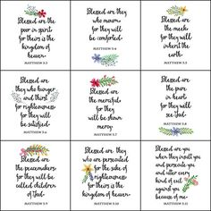 The Beatitudes. Set of 10 Bible Verse High-Resolution Printables. Includes Matthew 5:3-12.  What you get: 1. 10 high-resolution, easy to print, full-size images delivered in a single zip file. Suitable for framing, crafts, banners and more. 2. 5 high-resolution pages that are formatted so the images can be printed as cards. They are formatted to print on 8.5 x 11 inch cardstock. Folded cards measure 5.5 x 4.25 inches.  For envelopes that fit the folded cards click this link: https:/&#x2F...