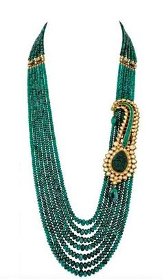 Zambian emeralds necklace with a kalgi brooch. Shop for your wedding trousseau…