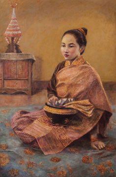 Luang Prabang Painting - Modesty by Sompaseuth Chounlamany Dress Painting, Luang Prabang, Stamp Collecting, Chinese Art, Wall Art, Artwork, Asian Beauty, Dresses, Fashion