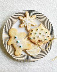 "Ginger-Studded Sugar Cookies Recipe on Food & Wine ~ ""My father used a lot of ginger in his baking,"" says Kevin Sbraga. ""It adds that burst of flavor that makes you think, Wow."" This sweet, candied-ginger dough can be rolled out and cut into any shape or formed into logs and refrigerated for simple slice-and-bake cookies."