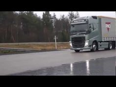 """On a test track in the new Volvo FH, together with test drivers you get to experience how the """"Collision Warning with Emergency Brake"""" system can avoid a rear end collision, even if it's tight! The tractor trailer is fully loaded to 40 tons GCW."""