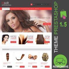 Thème Premium PrestaShop 1.5 sur les extensions et mèches de cheveux, Thème PrestaShop idéal pour la vente de produits cosmétiques pour salons de coiffures.