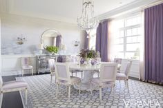 The dining room of a majestic house in upstate New York is draped in shades of lavender. Tour the rest of this home.   - Veranda.com