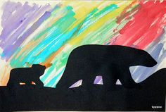 ARCTIC Tippytoe Crafts: Polar Bear Silhouettes with the Northern Lights! Bear Crafts, Animal Crafts, Winter Art, Winter Theme, Canada Day Crafts, Artic Animals, Penguins And Polar Bears, Polo Norte, School