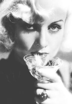 Carole Lombard with vintage etched cocktail coupe glass
