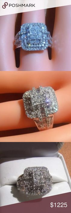 WOW! 2.5 carat 14k white gold diamond ring WOW! 2.5 carat 14k white gold diamond ring! This ring has tons of sparkle!! Retail over $3000! Jewelry Rings