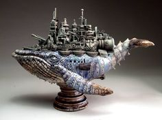 """Battleship - by Mitchell Grafton -Whale Battleship - by Mitchell Grafton - A wonderful combination of the natural and unnatural. Victor Gully, """"Good Lord, is all I can say!"""" Ghostly Pirate Ship Filled with Surreal Characters by Jason Stieva Kraken Design Steampunk, Art Steampunk, Steampunk Animals, Steampunk Airship, Dieselpunk, Steampunk Accessoires, Punk Art, Paperclay, Oeuvre D'art"""