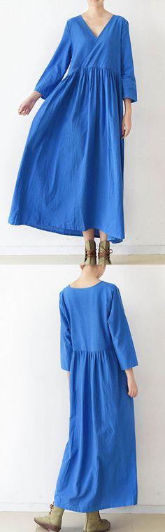 2017 spring bracelet sleeve linen dresses rolyal blue high waist casual cotton dresses