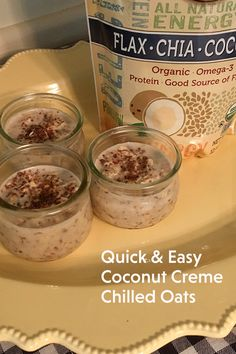 Coconut Cream Overnight Oats are high protein overnight oats with Barlean's Organic Flax Chia Coconut Blend. A healthy way to kickstart your morning!   Ingredients: 1.5 cups Rolled oats, old fashioned 2 cups Coconut milk 2 tbsp Agave syrup or your favorite sweetener 4 tbsp Barlean's Organic Flax Chia Coconut Blend   Mix ingredients together in a bowl and then distribute to smaller jars to chill for 3+ hours (or overnight). Garnish with a sprinkle #Barleans seed blend or coconut shavings. Coconut Cream, Coconut Milk, Uv Vodka Recipes, Protein Overnight Oats, Normal Blood Sugar Level, Rolled Oats, School Hacks, High Protein