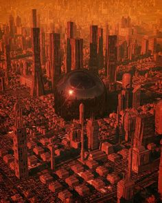 The Artist Inward Brings To Light Sublime Cyberpunk Worlds Westminster, Fantasy Landscape, Fantasy Art, Ontario, Epic Backgrounds, Sci Fi City, Futuristic City, Futuristic Architecture, Red Sun