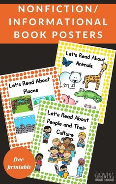 These free printable nonfiction book posters are perfect for using in the early childhood classroom library. #bookposters #classroomlibrary #earlychildhood #GrowingBookbyBook Reading Activities, Literacy Activities, Great Books, New Books, Book Posters, Preschool Books, Book Suggestions, Read Aloud, Nonfiction Books