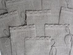 Linen gift bags set of 30 gray burlap rustic eco by chiffonart, $54.00 - Linen and lace goes well together