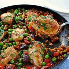 Mid-Week Paella  A fast and easy paella for midweek meals. Everyday ingredients. Chock full of flavour!