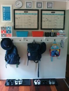 Wow!  Check out this Entry Command Centre / Launch Pad!!!  Includes step by step instructions for making the shelf/backpack holder!  Just turned my butler hallway into a launch area - and all I'm missing is the backpack hooks ... this might