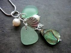 Abalone Sea Glass Necklace Beach Glass Jewelry by TheMysticMermaid