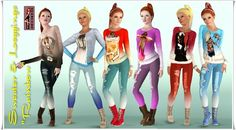 Rainbow Sweater & Leggings by Annett85 - Sims 3 Downloads CC Caboodle