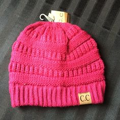 Raspberry fitted C.C. Beanie Super cute fitted beanie! Accessories Hats
