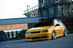 Yellow GTI MK4 Jetta Front End.... Love those rims