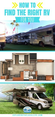 How to Find the Right RV for Your Lifestyle — Exploring the Local Life How To Find the Best RV for You Rv Travel, Travel Trailers, Camper Trailers, Rv Show, Rv Parks And Campgrounds, Small Rv, Buying An Rv, Rv Organization, Rv Interior