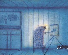 """Tynne Esko    Self-Portrait as a Hedgehog, #2    1990    Oil on canvas mounted on masonite    10 x 7"""""""
