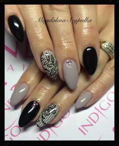Jesienne klimaty w kolorach Gel Polish Mr.Black + Caffe Latte by Magdalena Szypulka <3 <3 <3 #mani #nailart #nails #black #grey #wownails #gelnails