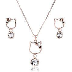Amazed Hot Gold Plated White Rhinestone Necklace Earrings Funky Lady Jewelry Set
