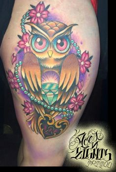 Ali From Aces and Eights Tattoo in Lakewood Wa. Owl with Flowers, Jewels Tattoo