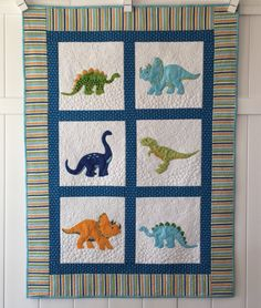 Custom Dinosaur Quilt Appliqued Dinosaurs Baby Quilt Toddler Quilt by SewYouLikeIt on Etsy