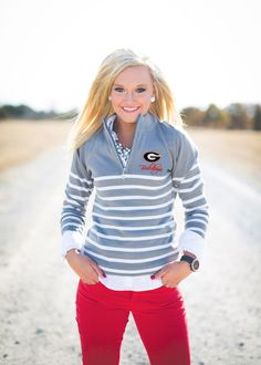Gameday Couture - GEORGIA LUREX STRIPED QUARTER ZIP JACKET, $56.00 (http://www.gameday-couture.com/whb14-uga-lurex-striped-quarter-zip-jacket/)