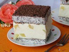 Makuszek with pineapple INGREDIENTS: Sponge cakes poppy 8 white . on Stylowi. Sweets Cake, Cupcake Cakes, Poppy Seed Cake, Cute Desserts, Polish Recipes, Cheesecake Bars, Food Cakes, No Bake Cake, Vanilla Cake