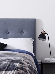 Before Midnight luxe Belgian Linen punctuated by Slate Resin Buttons, the perfect way to give any room a more masculine feel. Linen Bedroom, Linen Bedding, Bed Linens, Master Bedroom, Navy Furniture, Furniture Design, Neutral Bed Linen, Bedding And Curtain Sets, Pottery Barn Teen Bedding