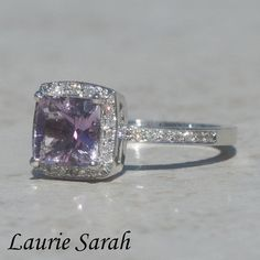 Princess Cut Amethyst Right Hand Ring with by LaurieSarahDesigns, $1683.90
