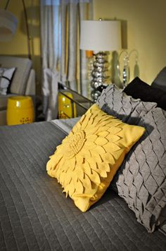 Yellow and Gray Bed. Maybe I like these colors. I'm feeling the grey though.