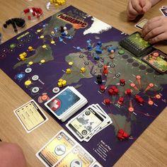 Pandemic - co-operative board game. Fun times.