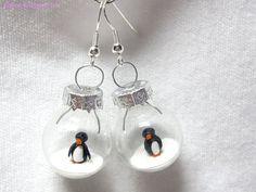 Pinguin Ohrringe von KleineKnetwelt auf Etsy