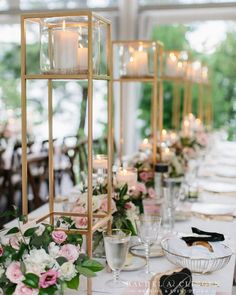 Love the clean lines of our tall candle stands. Photo by Jennifer van S. Love the clean lines of our tall candle stands. Photo by Jennifer van Son Photography. Vintage Wedding Centerpieces, Candle Centerpieces, Centerpiece Ideas, Tall Centerpiece Wedding, Non Floral Centerpieces, Wedding Arrangements, Geometric Wedding, Floral Wedding, Event Decor