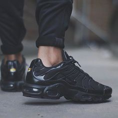 "separation shoes 06fc3 4ee9c Everythingairmax on Instagram ""Nike Air Max Plus TN ⚫ ⚫ ⚫ , worn by my  brudda themonsta 💣💥💣💥💣💥!! Can never go wrong with a pair of all  Black ..."