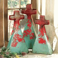 Turquoise Clay Crosses