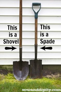 The *difference* between a {shovel} and a {spade!}
