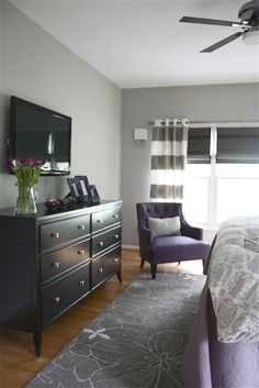 Color Palette - grey, purple, black Grey & white striped curtains as room divider & accent wall?