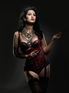 Corsets: Red Sequin Burlesque Corset Costume with Black Trim.