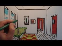 How to draw a room using one point perspective. In this video you can see step by step how to draw a room and make it look three dimensional by using perspective.