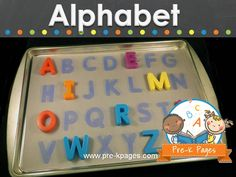 Ideas and activities for learning the alphabet in preschool, pre-k, or kindergarten classrooms.