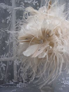 Ostrich and Peacock Feather Bouquet or Centerpiece Decoration.